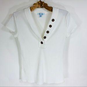 She + Sky Cream Ribbed Button Front Shirt Medium